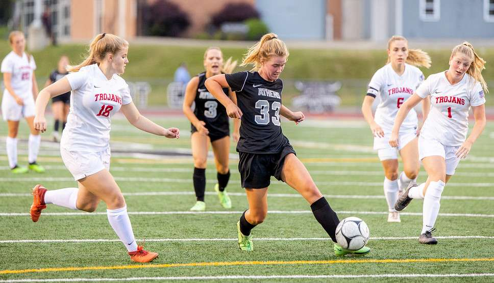 THOMAN'S SECOND-HALF GOALS LIFT ATHENS TO 3-2 WIN OVER TROY