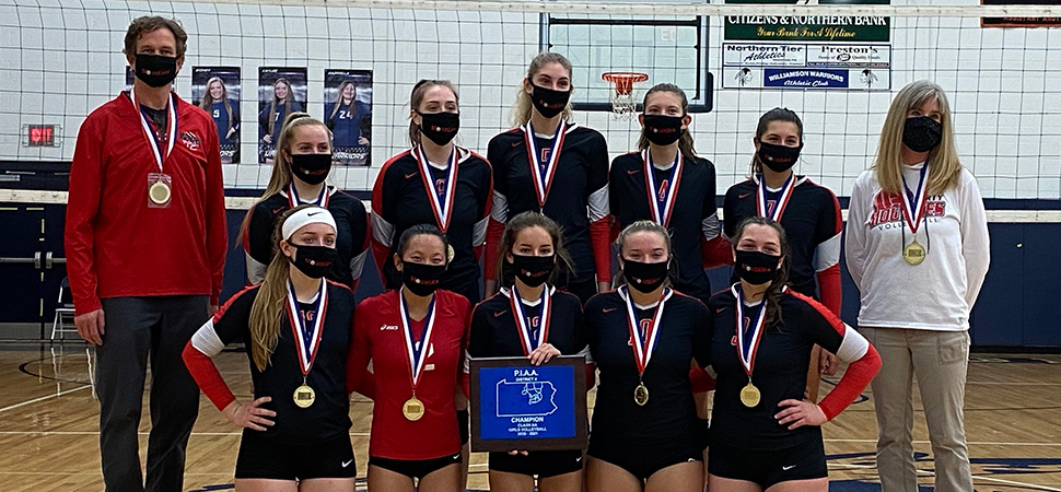 Lady Mounties win 5th straight D4 Volleyball title.