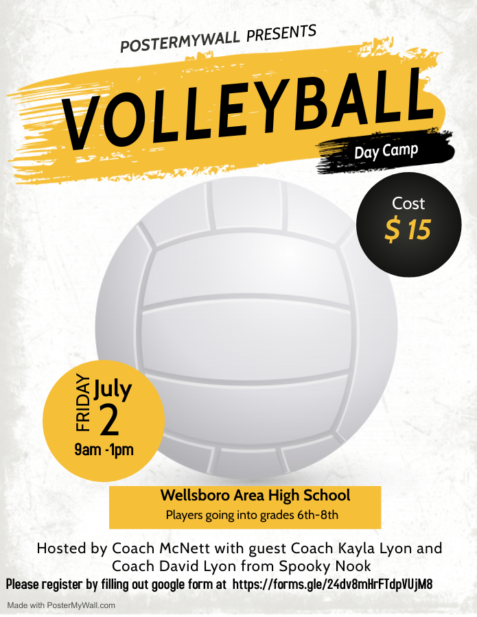 Wellsboro Middle School Volleyball Day Camp Poster